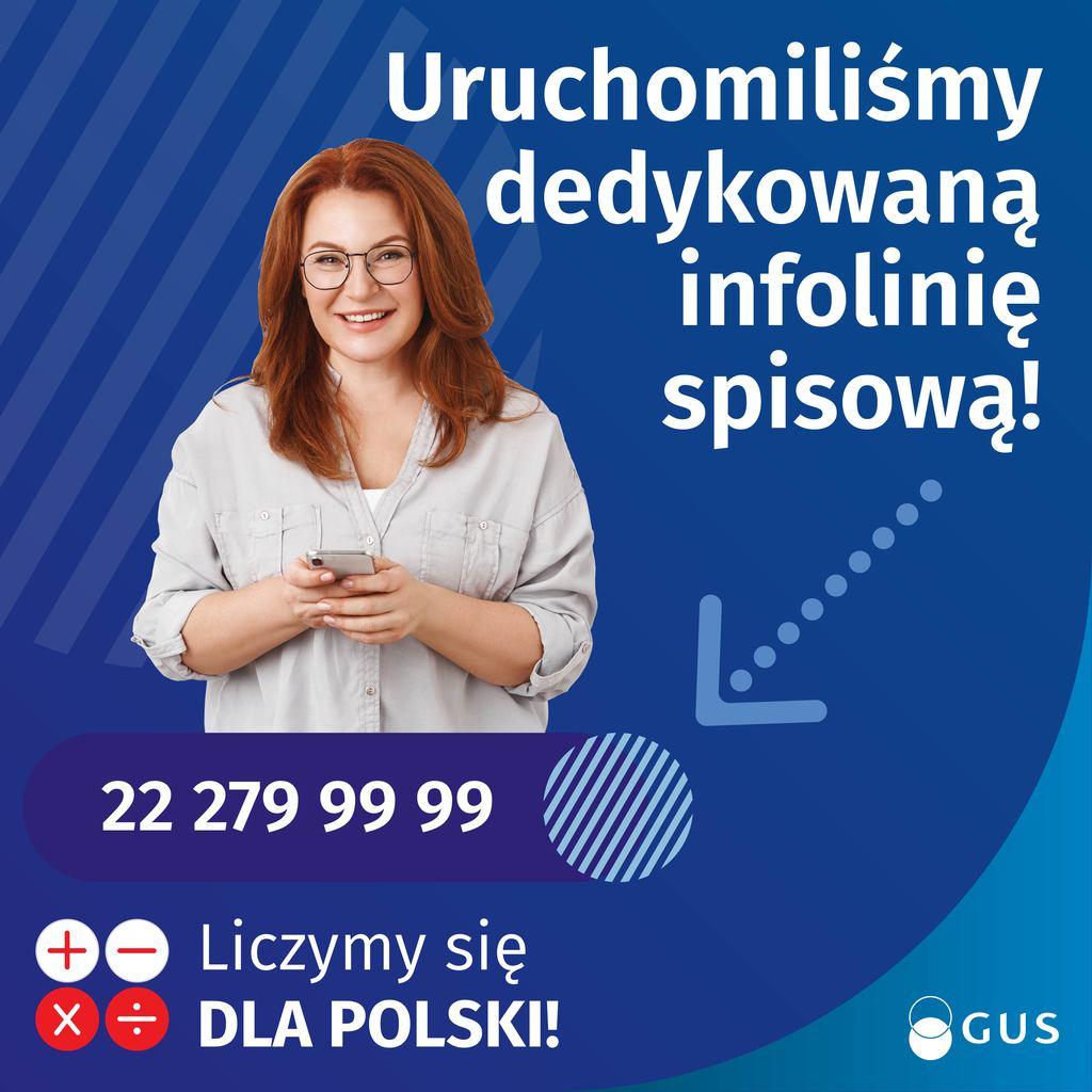 Plakat dotyczący infolinii spisowej
